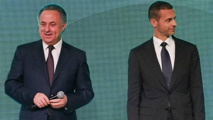 El viceprimer ministro ruso, Vitaly Mutko, junto al presidente de la UEFA, Aleksander Ceferin en la presentación del logo de la Eurocopa de fútbol de 2020 en San Petersburgo (Rusia).