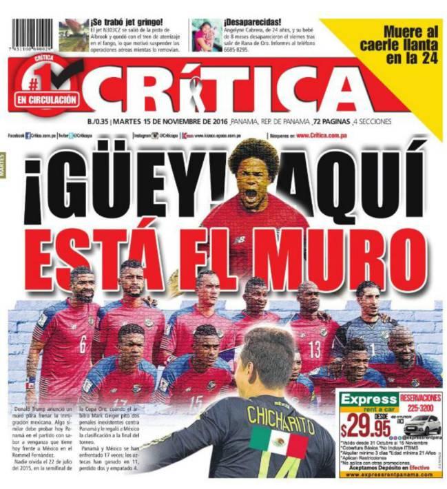 Prensa panameña se burla de México con el muro