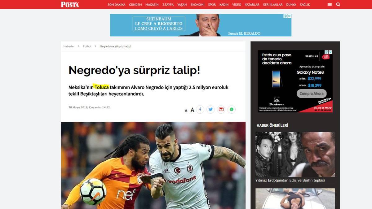 El español Álvaro Negredo rechazó oferta del Toluca