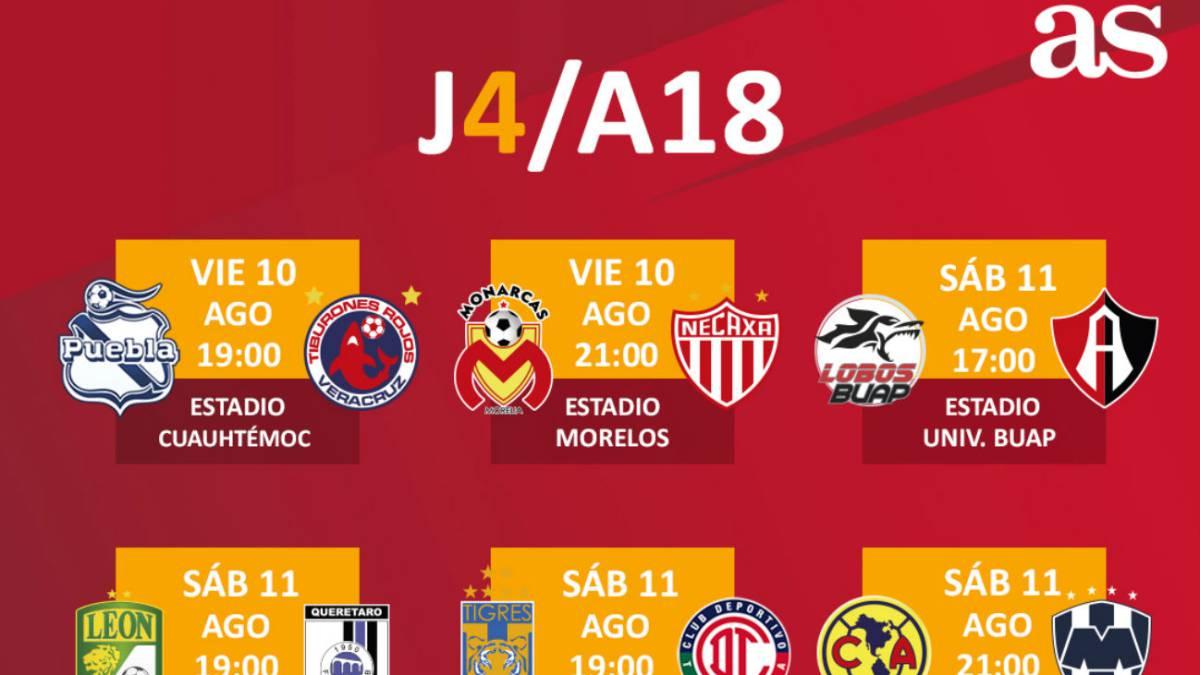 Fechas y horarios de la jornada 4 del Apertura 2018 de la Liga MX ...