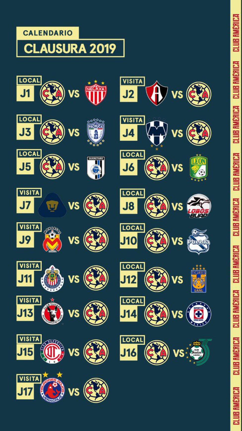 Conoce el calendario del Clausura 2019 equipo por equipo - AS México 40a93b7a3f1a4