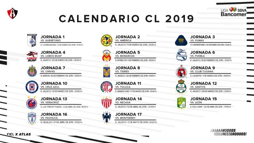 Calendario Futbol 2019.Conoce El Calendario Del Clausura 2019 Equipo Por Equipo As Mexico