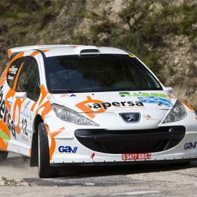 Primer triunfo del granadino <b>David Pérez</b> al volante de su Peugeot 207.