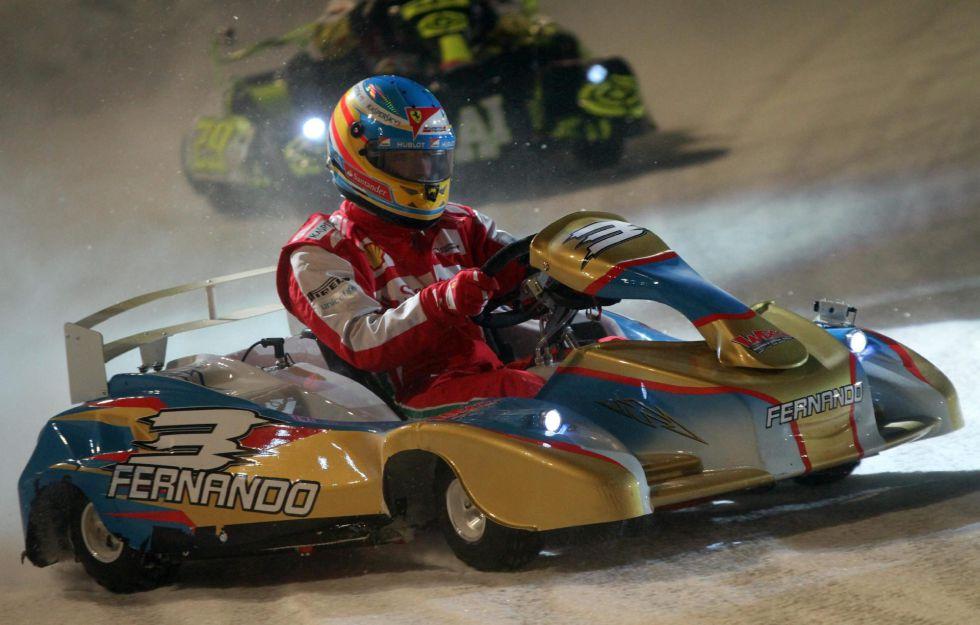 Alonso ganó la prueba de karts en el lago helado de Madonna