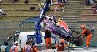 Kvyat sale ileso de un terrible accidente en Suzuka