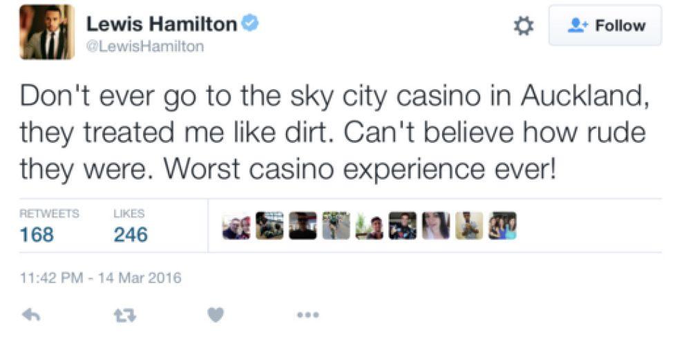 """Hamilton, lío en el casino: """"Me trataron como basura"""""""
