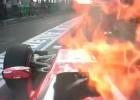 Raikkonen, protagonista del otro susto: fuego en su Ferrari