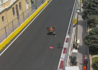 Ricciardo, el primero en probar los muros del circuito de Bakú