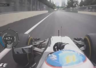 Alonso se quitó el cinturón para poner el modo neutro