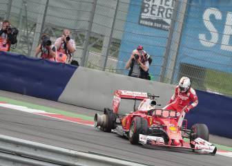 Vettel revienta el neumático en plena recta a más de 290 km/h