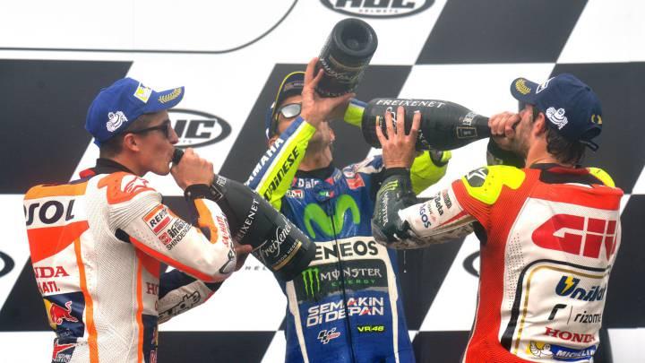 Crutchlow gana con Rossi 2º y Márquez 3º; mal día de Lorenzo