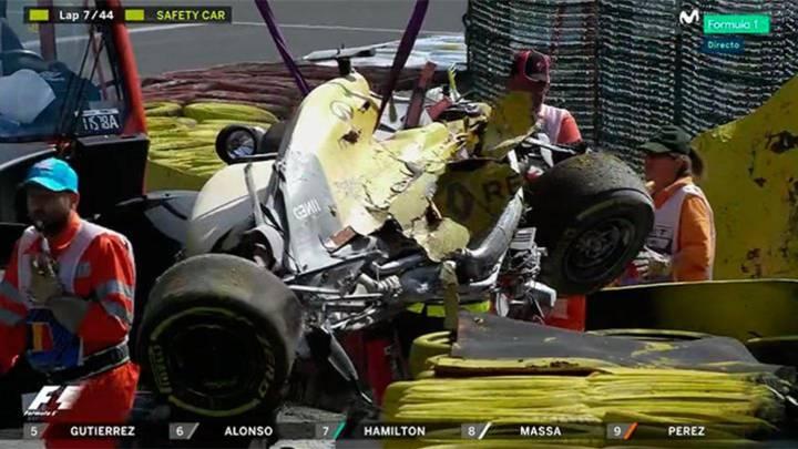 Brutal accidente de Magnussen que provocó la bandera roja