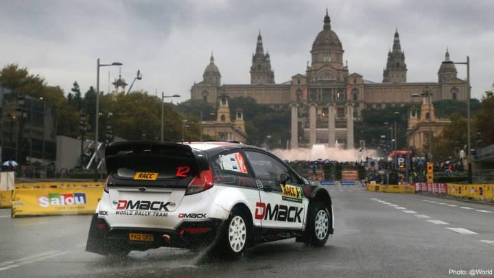 Ott Tanak, primer líder del rally bajo el diluvio de Barcelona