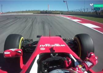 Vettel pilotó el Ferrari con una sola mano en Austin