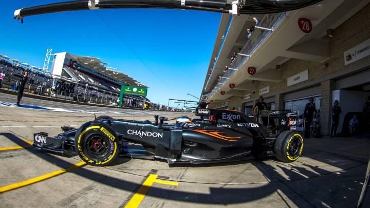 El McLaren Honda F1 de Fernando Alonso en el GP de Estados Unidos 2016.