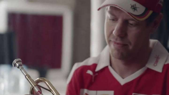 Sebastian Vettel conoce al trompetista profesional Arturo y descubre que la música también puede ser una carrera de vértigo