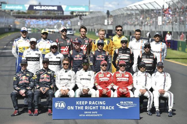 Los pilotos de 2016, en el primer GP de F1 de la temporada.