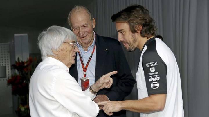 Ecclestone, el Rey Juan Carlos y Alonso.