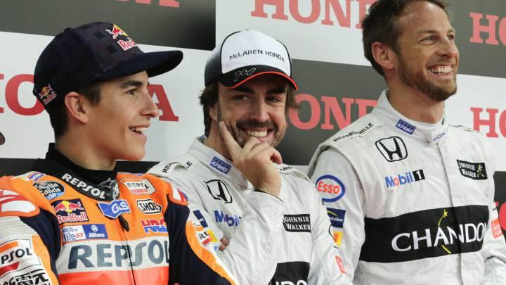 Márquez, Alonso y Button en el Honda Racing Thanks Day 2016.