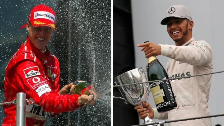 Michael Schumacher, en su época de Ferrari, y Lewis Hamilton, de Mercedes.