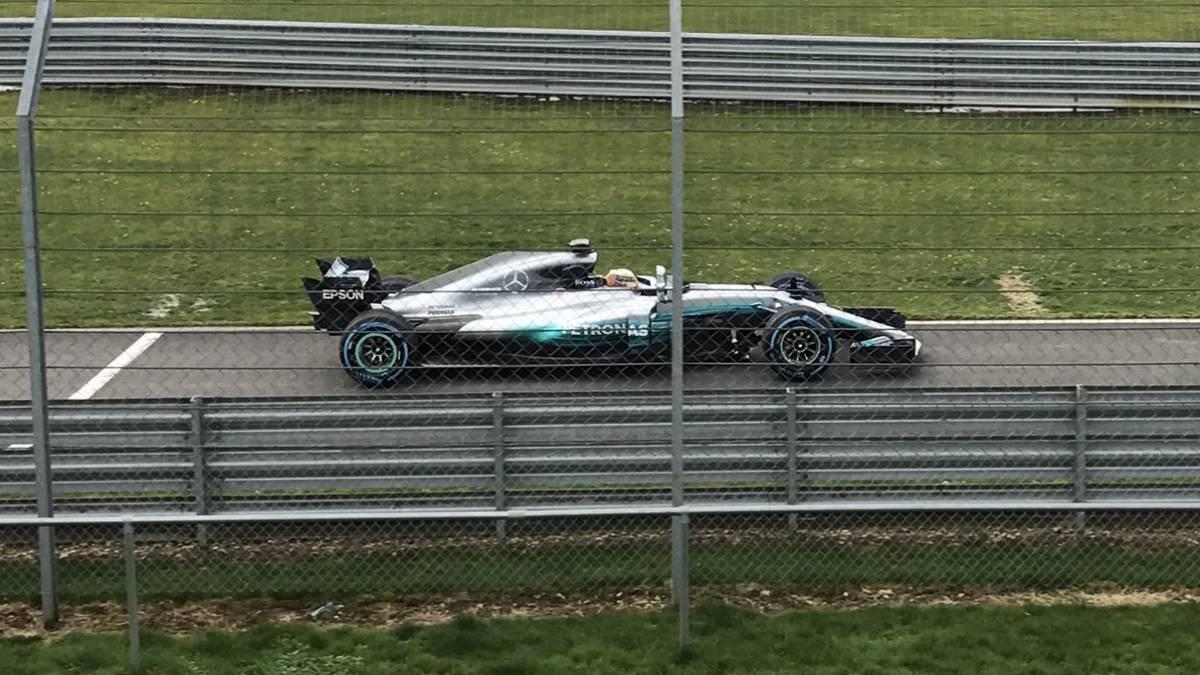 El Mercedes W08 en Silverstone.