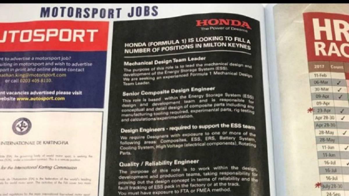 F1 i honda publica ofertas de empleo para f1 en una for Ofertas de empleo en fabricas