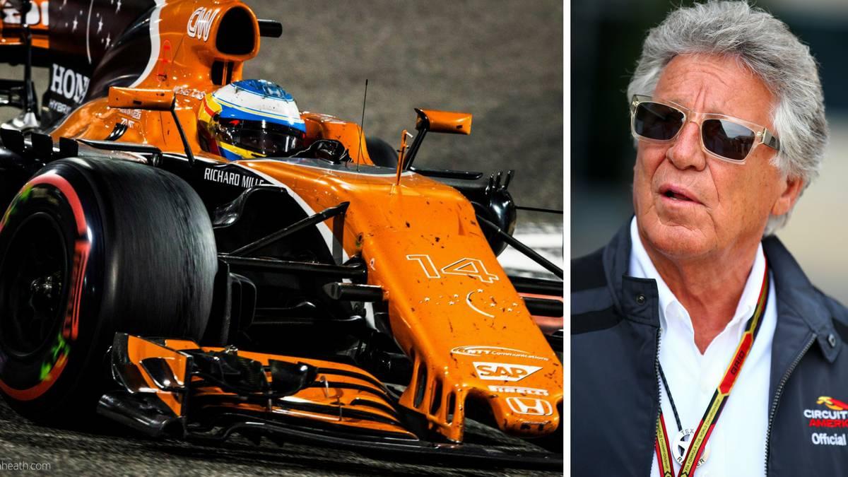 Fernando Alonso con el McLaren y Mario Andretti.