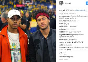 Lewis Hamilton and Neymar enjoy NBA action