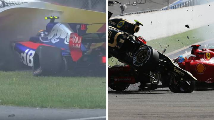 El accidente de Sainz en Canadá y el de Grosjean en Spa 2012.