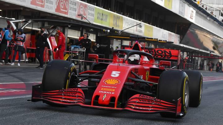 El Ferrari SF1000 de Vettel durante los test de pretemporada de F1 2020.