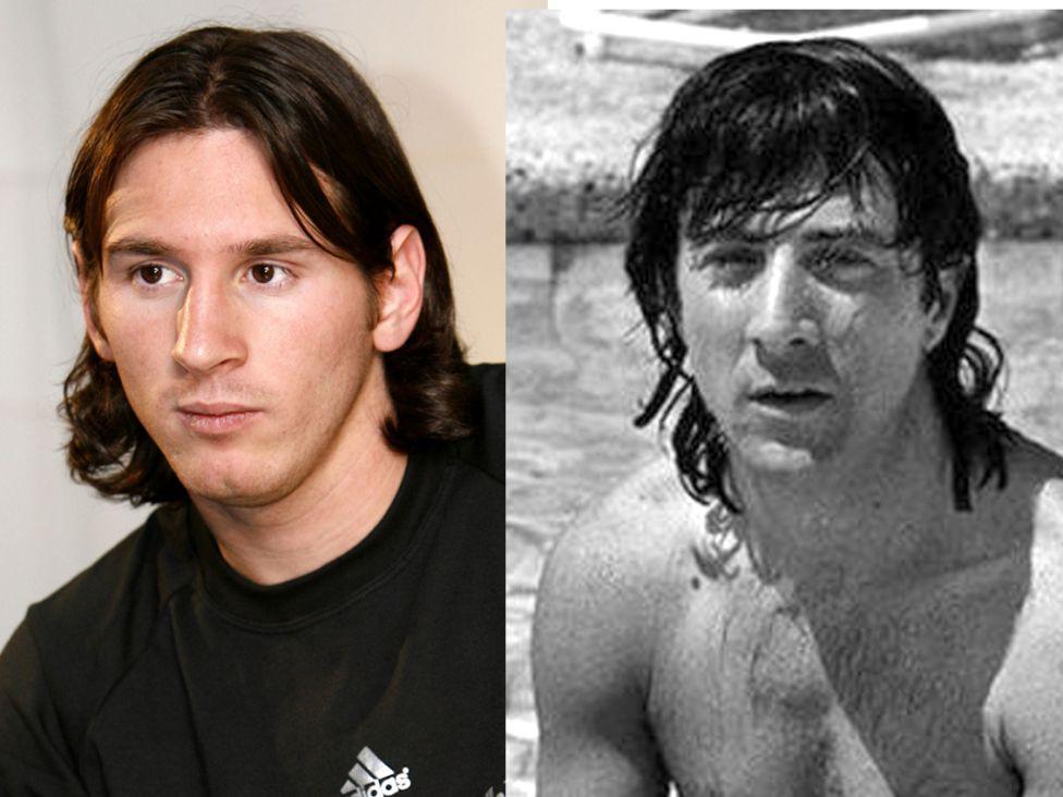 Leo Messi y Dustin Hoffman de jovenes