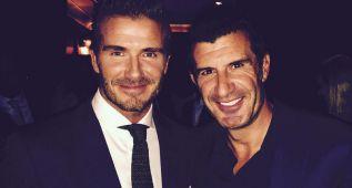 David Beckham se dejó ver por la noche madrileña con Figo