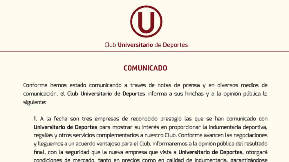 Umbro aclaró cuál es su situación contractual con los cremas — Universitario