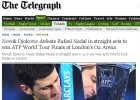 """La prensa británica: """"Djokovic demolió a Nadal en Londres"""""""