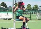 Garbiñe se entrenó en una silla después de operarse el tobillo