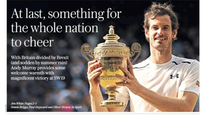 La prensa británica se rinde a Murray tras ganar Wimbledon