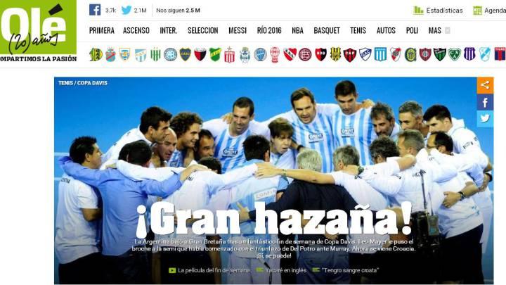 La prensa argentina aplaude el triunfo ante Gran Bretaña
