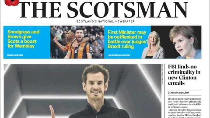 Portada de The Scotsman del 7 de noviembre de 2016 dedicada a Andy Murray tras su victoria ante John Isner en la final del Masters 1.000 de París-Bercy y coronarse como número 1 del mundo.