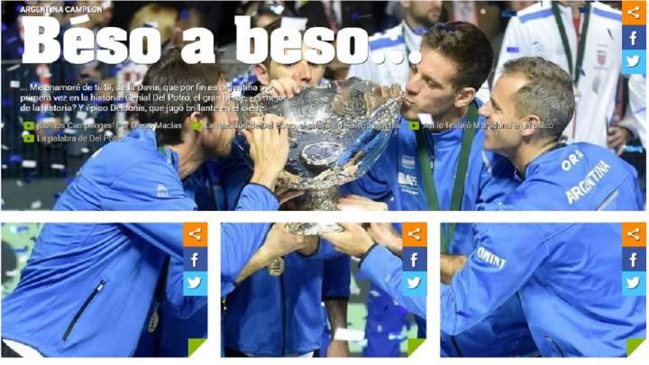 El equipo argentino besa la ensaladera de campeones de Copa Davis en la fotografía que abre la portada de la edición digital del diario Olé.