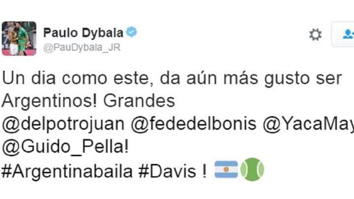 El jugador de la Juventus de Turín, Paulo Dybala, celebró en su cuenta de Twitter el título de Argentina en la final de la Copa Davis.