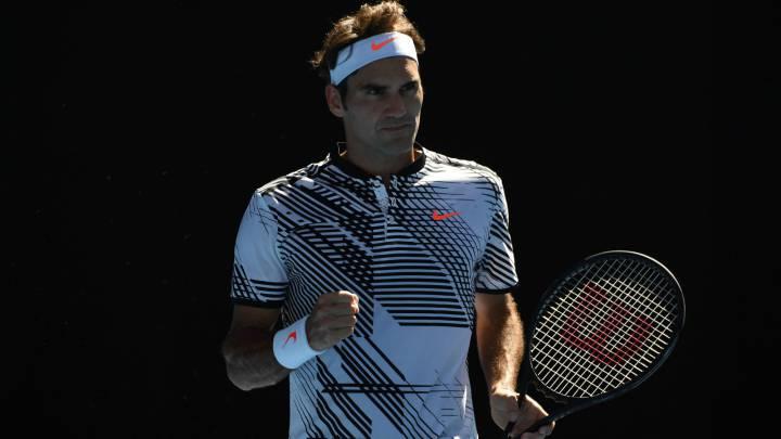 Roger Federer celebra un punto durante su partido ante el estadounidense Noah Rubin en segunda ronda del Australia Open.