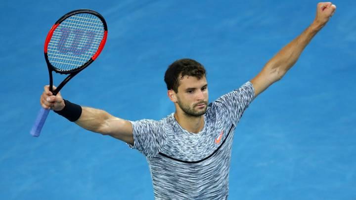 Grigor Dimitrov celebra su victoria ante el uzbeko Denis Istomin en el encuentro de octavos de final del Open de Australia.
