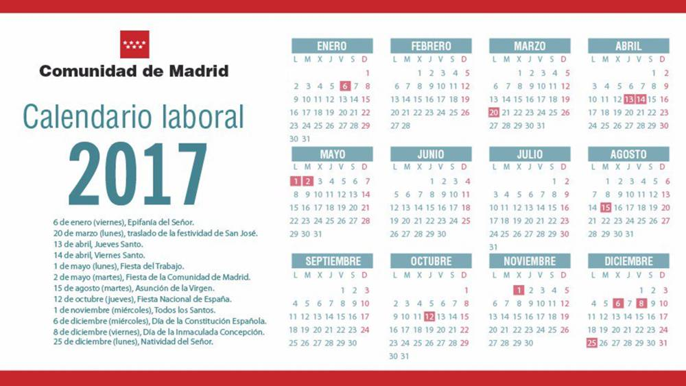 Calendario laboral 2017 en la comunidad de madrid todos for Calendario eventos madrid