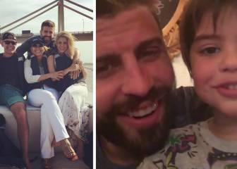 Piqué posa con los padres de Shakira y canta con Milan al Barça