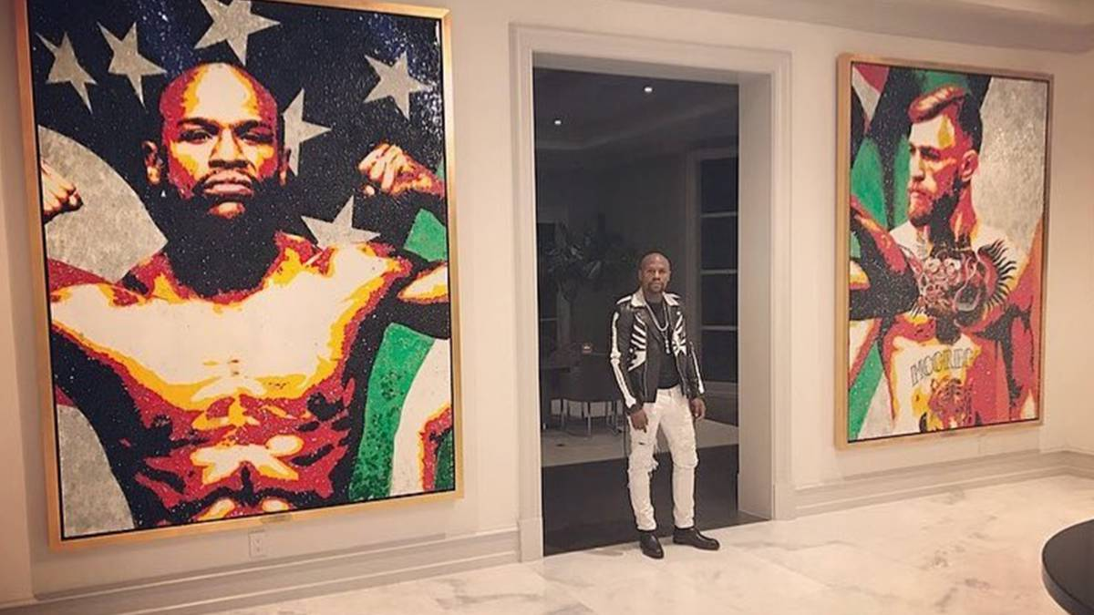 Mayweather sorprende en redes sociales con un enorme mural en su mansión