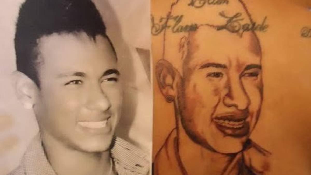 that's not neymar: failed tattoo of brazilian on fan's back - as
