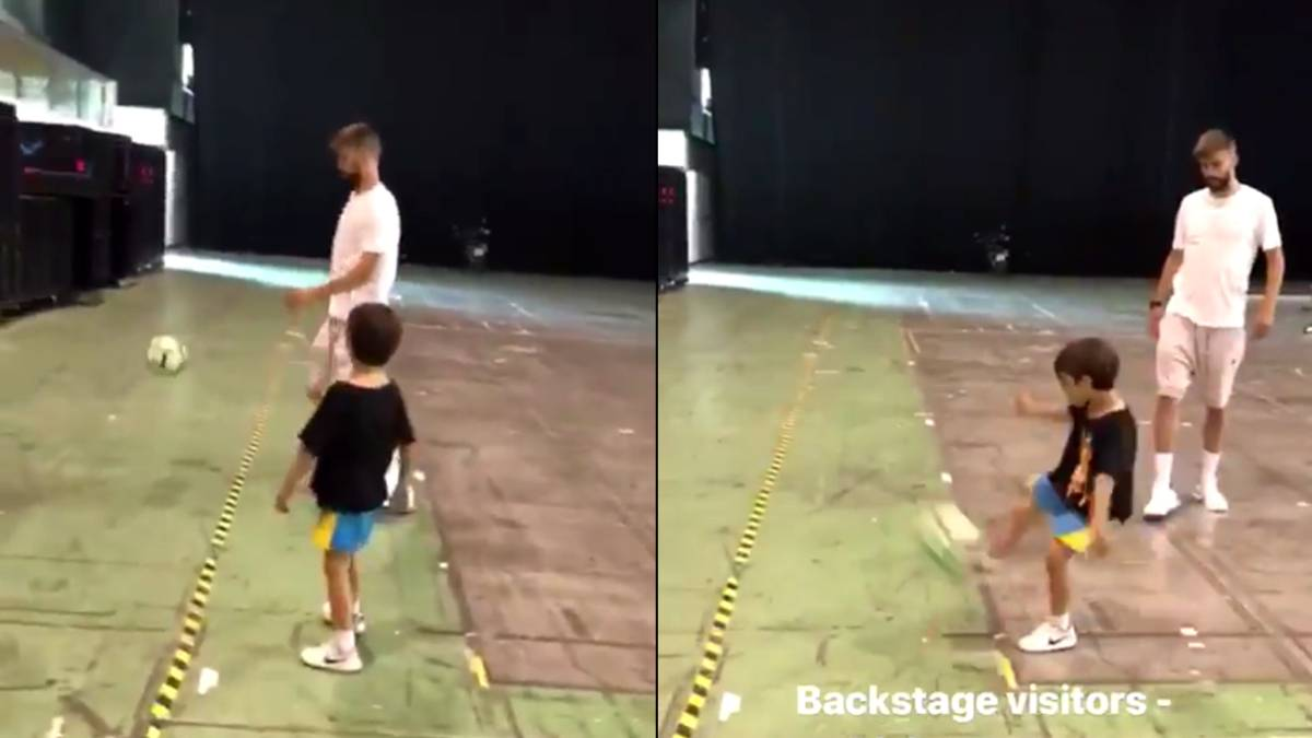 Piqué y su hijo Milan, fútbol en el backstage de Shakira