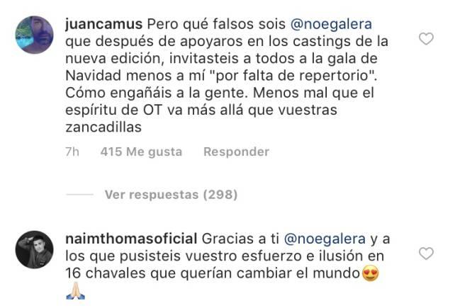 Juan Camus carga contra Noemí Galera y 'OT' en su 17 aniversario