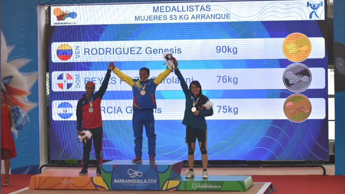 Criolla Génesis Rodríguez brilló en las pesas al colgarse par de doradas