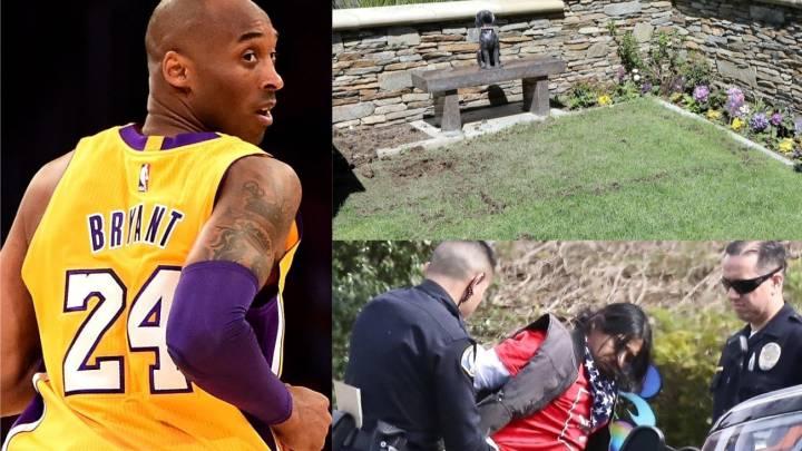 Hombre es detenido por cavar en la tumba de Kobe Bryant